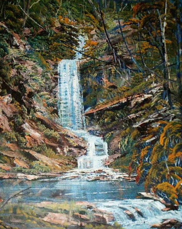 Large waterfall painting